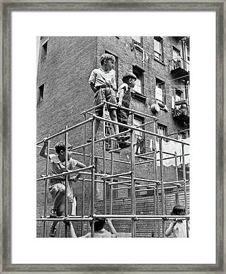Children In Tot Lot Playground Framed Print
