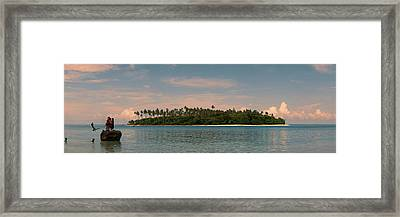 Children Jumping In The Ocean Framed Print by Panoramic Images