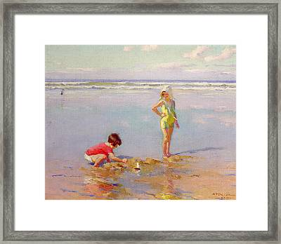 Children On The Beach Framed Print by Charles-Garabed Atamian