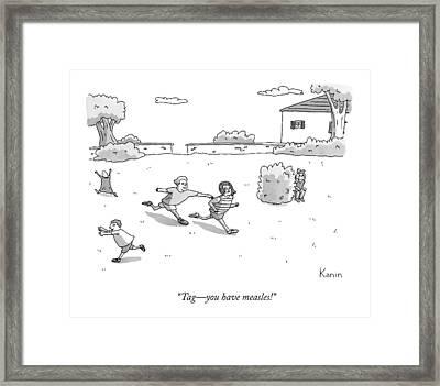 Children Play Tag Framed Print