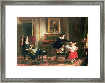 Children Playing At Coach And Horses Framed Print by Charles Robert Leslie