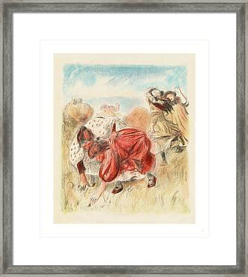 Children Playing Ball Enfants Jouant A La Balle Framed Print by Renoir, Auguste (1841?1919), French