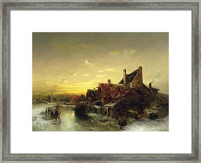Children Playing On The Ice Framed Print by Desire Tomassin