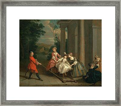 Children Playing With A Hobby Horse, Joseph Francis Framed Print by Litz Collection