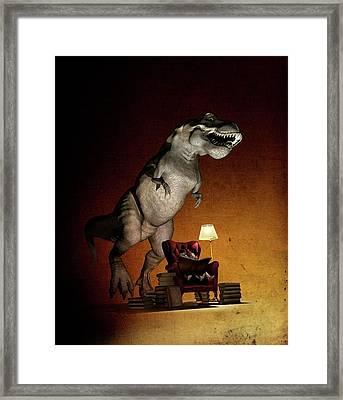 Children Reading About Dinosaurs Framed Print by Mikkel Juul Jensen