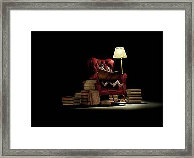 Children Reading At Night Framed Print