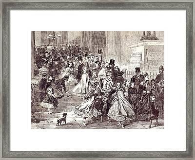 Children Returning From The Christmas Pantomime 1866 Framed Print