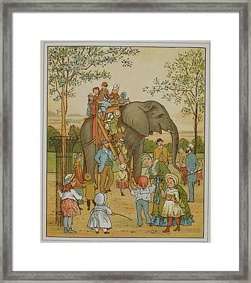 Children Riding An Elephant At London Zoo Framed Print