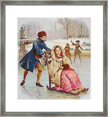 Children Skating Framed Print by Maurice Leloir