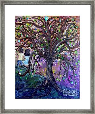Children Under The Fantasy Tree With Jackie Joyner-kersee Framed Print by Eloise Schneider