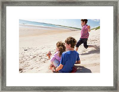 Children Using Body Boards Framed Print