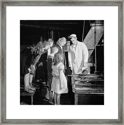 Children Visit The Local Rendering Framed Print by Stocktrek Images