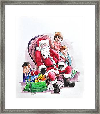 Children Patiently Waiting Up For Santa. Framed Print