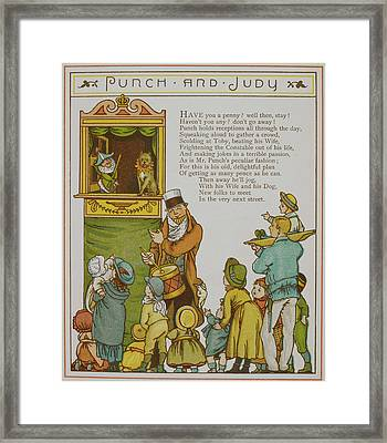 Children Watching A Punch And Judy Show Framed Print by British Library