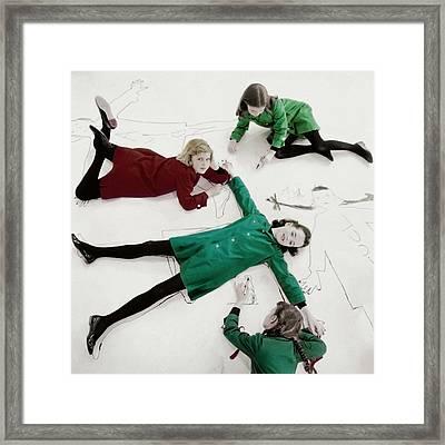Children Wearing Play Smocks By Christian Dior Framed Print
