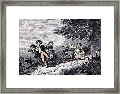 Children With A Cart In 1870 Cart Country Lane Tree Framed Print