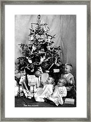 Children With Christmas Tree 1908 Framed Print by Photo Researchers
