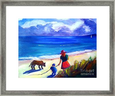 Framed Print featuring the painting Children With Dog - Original Sold by Therese Alcorn