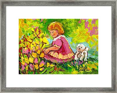 Children's Art - Little Girl With Puppy - Paintings For Children Framed Print by Carole Spandau