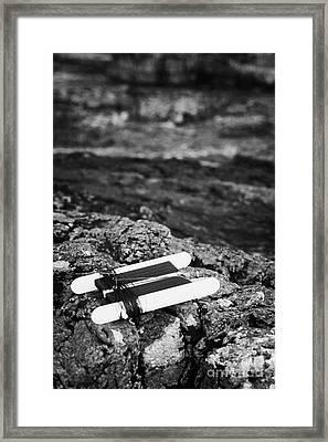 Childrens Bright Orange Crab Line Fishing Line Sitting On Rocks With Rock Pools Framed Print by Joe Fox