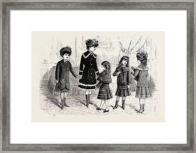 Childrens Winter Costumes,  Fashion Framed Print by English School