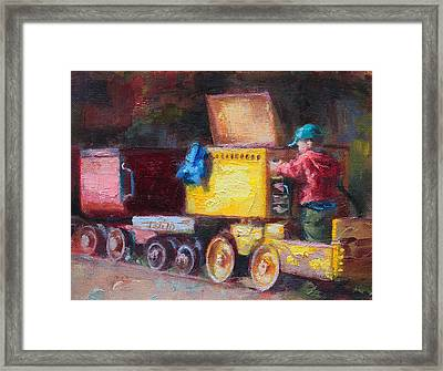 Child's Play - Gold Mine Train Framed Print by Talya Johnson