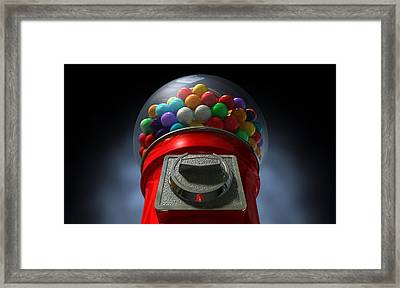 Childs View Of The Gumball Machine Framed Print by Allan Swart