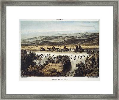 Chile 1854. Falls Of Laja River Framed Print by Everett