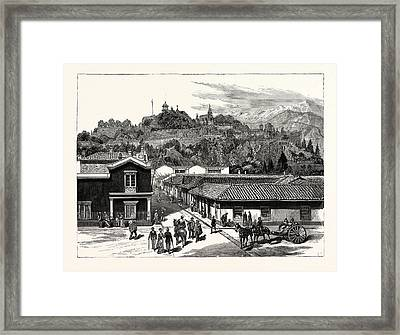 Chile View Of Santa Lucia, The Pleasure Resort Of The City Framed Print by Chilean School