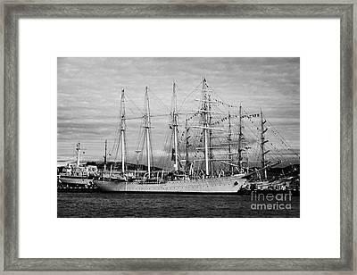 chilean navy training sail ship esmeralda moored in Ushuaia Argentina Framed Print by Joe Fox