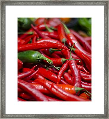 Chili Peppers At The Market Framed Print
