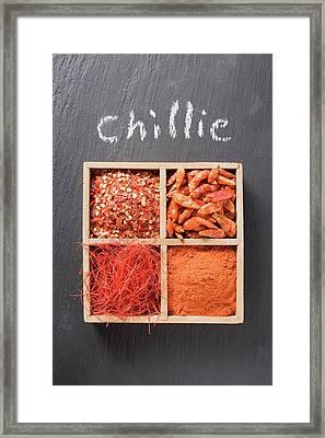 Chilli Flakes, Chillies, Chilli Powder, Chilli Threads In Type Case Framed Print