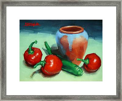 Chilli Peppers And Pot Framed Print