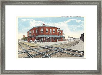 Chillicothe Ohio Railroad Depot Postcard Framed Print by Charles Robinson