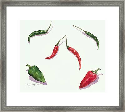 Chillies And Peppers Framed Print by Alison Cooper