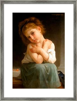 Chilly Girl Framed Print by William Bouguereau