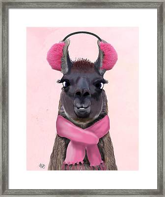 Chilly Llama Pink Framed Print by Kelly McLaughlan