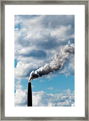 Chimney Exhaust Waste Amount Of Co2 Into The Atmosphere Framed Print by Ulrich Schade