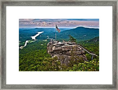 Framed Print featuring the photograph Chimney Rock At Lake Lure by Alex Grichenko