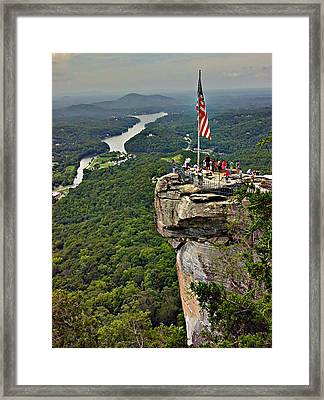 Framed Print featuring the photograph Chimney Rock Overlook by Alex Grichenko