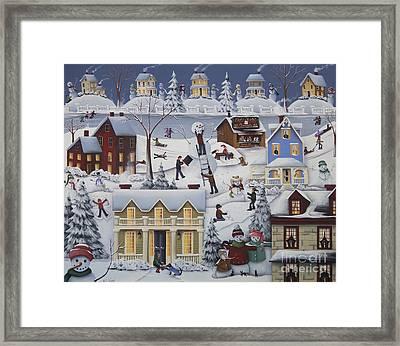 Chimney Smoke And Cheery Snow Folk Framed Print