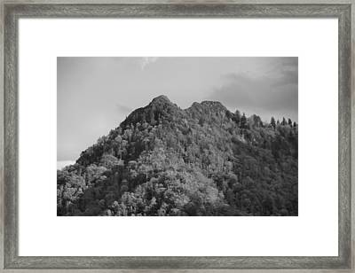 Chimney Tops In The Smokies Black And White Framed Print