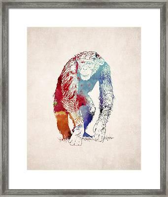 Chimpanzee Drawing - Design Framed Print
