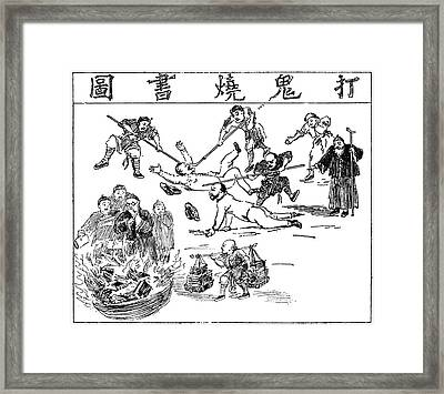 China Anti-west Cartoon Framed Print by Granger