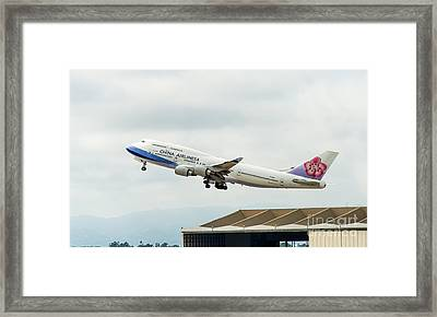 China Arlines 747 Lifts Off From Lax Framed Print