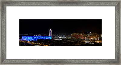 China Beijing Panorama Water Cube And Birds Nest Stadiums Framed Print