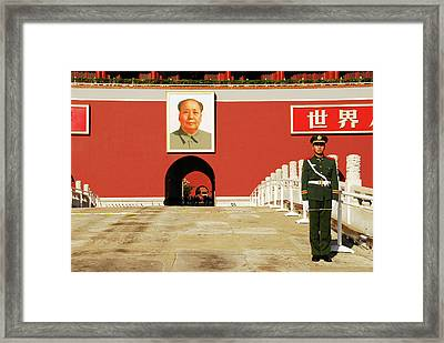 China Beijing, Security Guard Posted Framed Print by Anthony Asael