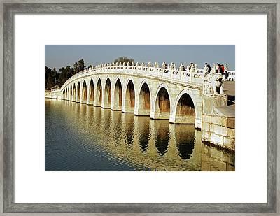 China, Beijing, Seventeen Arch Bridge Framed Print