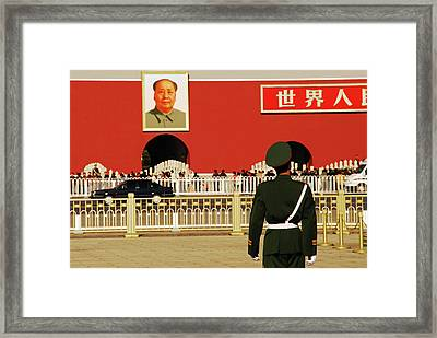 China, Beijing, Tiananmen Square, Guard Framed Print by Anthony Asael