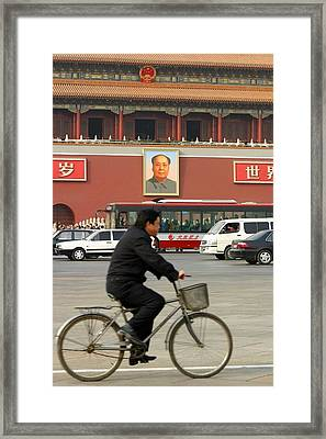 Framed Print featuring the photograph China Bicycle by Henry Kowalski